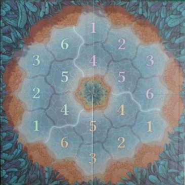 Il tabellone per il gioco in solitario: è stampato sul retro e, come si vede, tutte le sue caselle hanno un numero