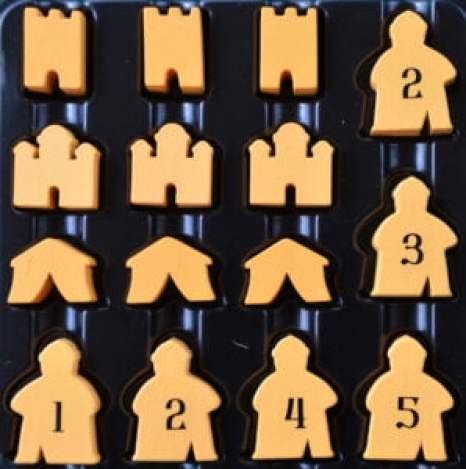 I consiglieri ed i tre tipi di edificio a disposizione di ogni giocatore