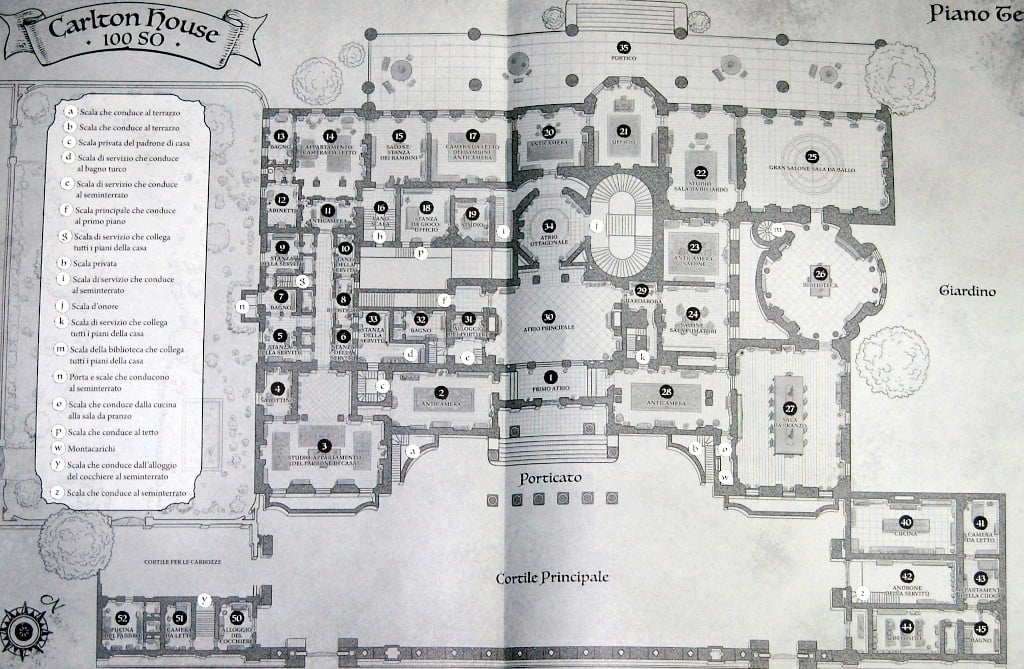 Una delle mappe di Carlton House