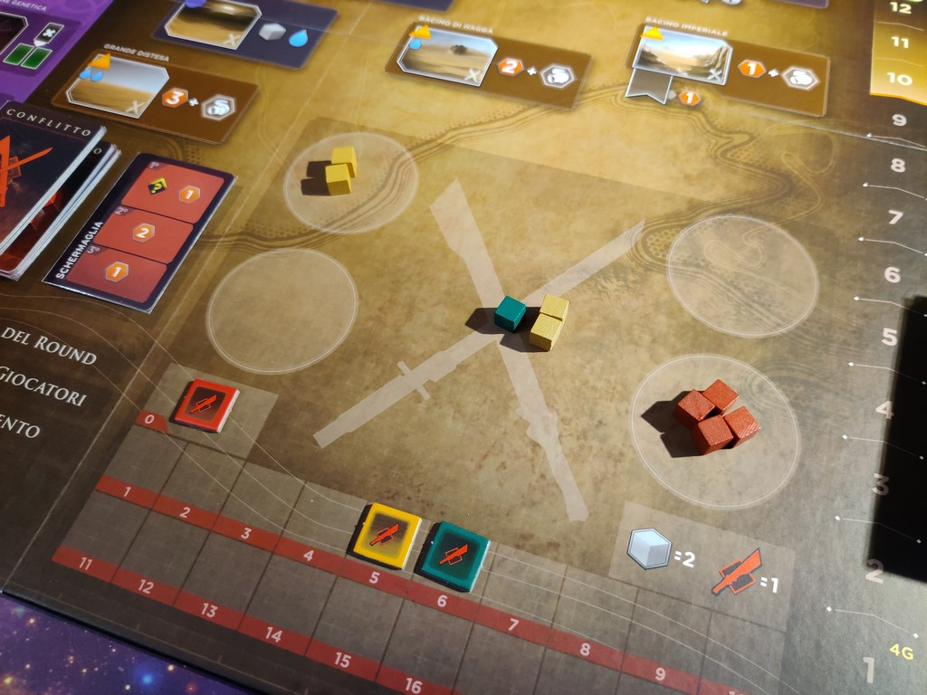 Le quattro guarnigioni dei giocatori e l'area centrale con le truppe già schierate per il round in corso.