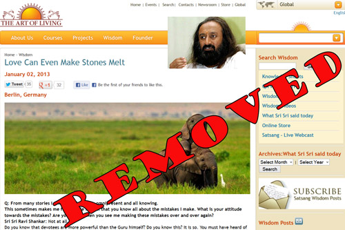 Sri Sri Ravi Shankar quickly removes Story about having Mobile-Charging-Powers – 19 Feb 13