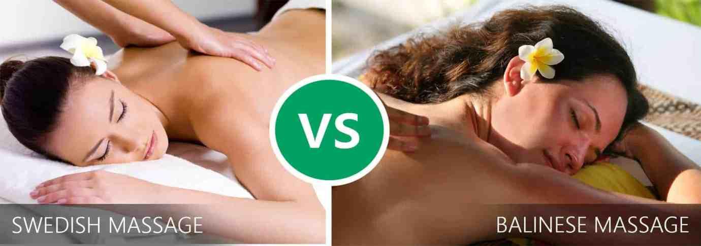 Lady enjoying Swedish Massage on Left and on right lady with Balinese Massage