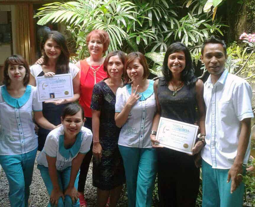 Tamara with her class mate celebrate her graduation after 2 months learnt VTCT Diploma in Complementary therapy here at BISA Spa Academy