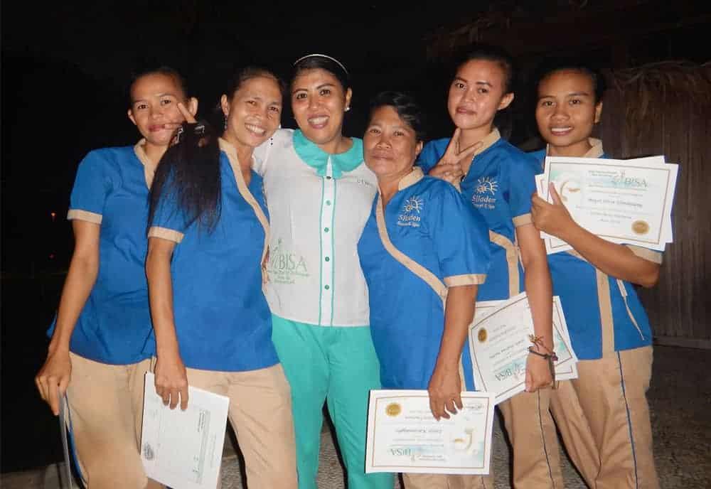BISA Trainer Dewi trip to Sulawesi to do massage training in Siladen Spa