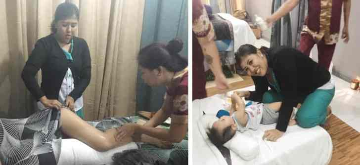 Dewi while teaching Bali Ubud Spa trainer pregnancy massage and baby massage