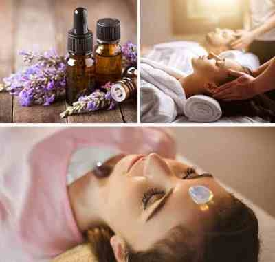 Woman receiving massage collage with lavender essential oils