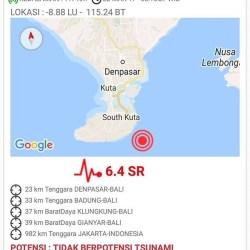 Bali Diguncang Gempa Berkekuatan 6,4 SR