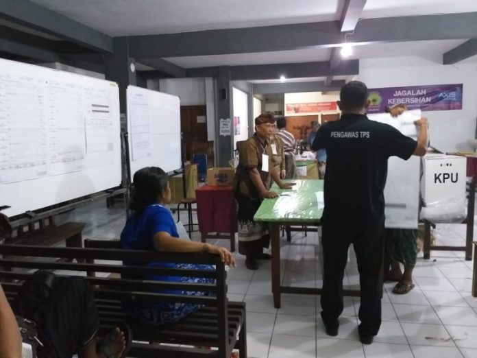 Perolehan suara untuk pasangan calon (Paslon) Presidan dan Wakil presiden nomor urut 01 Jokowi -Amin di Banjar Kuum, Desa Sukawana, Kintamani