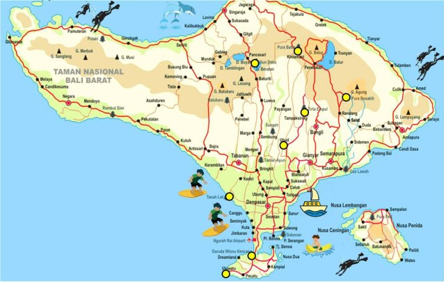 Bali map offers complete bali tourism maps indonesia travel guides bali map complete bali tourism maps gumiabroncs Choice Image