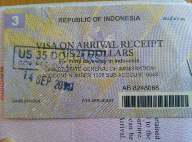 Indonesia Visa on Arrival Receipt