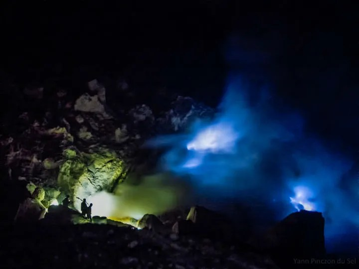 Ijen Volcano Blue Fire at night