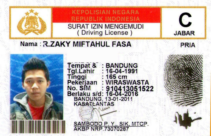 Indonesia drivers license SIM C