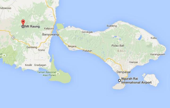 Map of Bali and Mt Raung