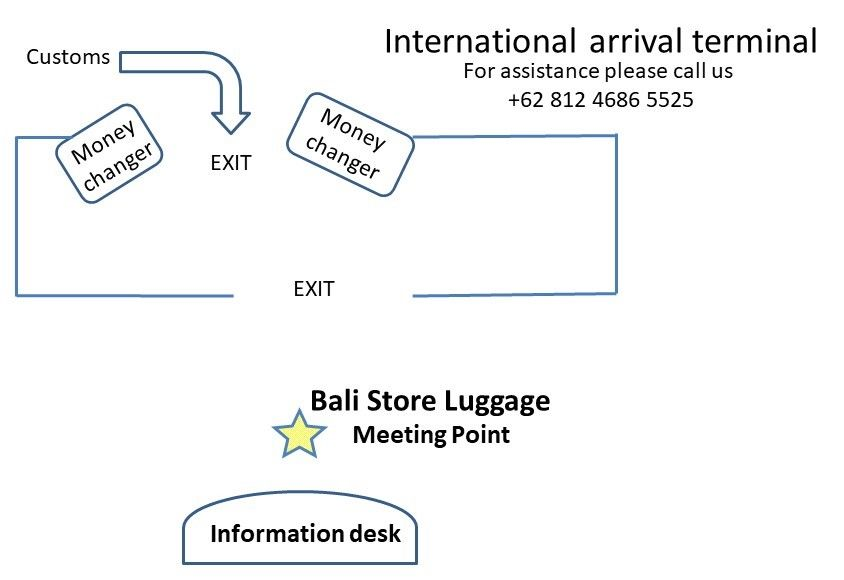 Bali store luggage meeting point at Bali airport