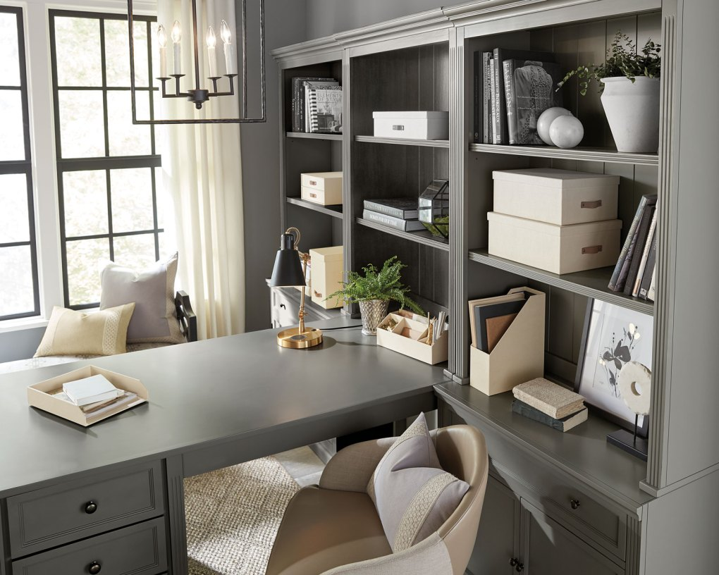 Organize your work from home setup with shelving and storage boxes