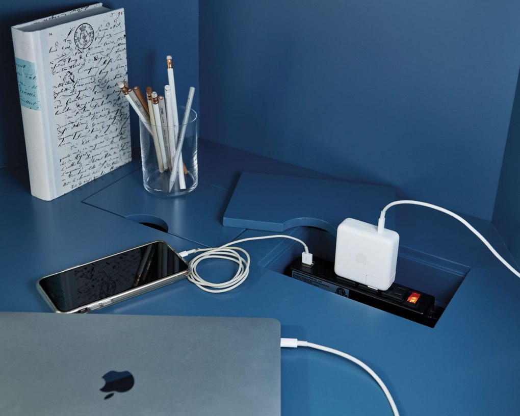 Desk with cord management for your work from home setup