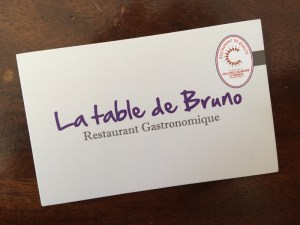 La Table de Bruno : Carte commerciale