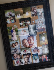 Here is the cork board I use in my playroom upstairs! It is easy to switch out pictures from time to time, but still display a lot of them at once!