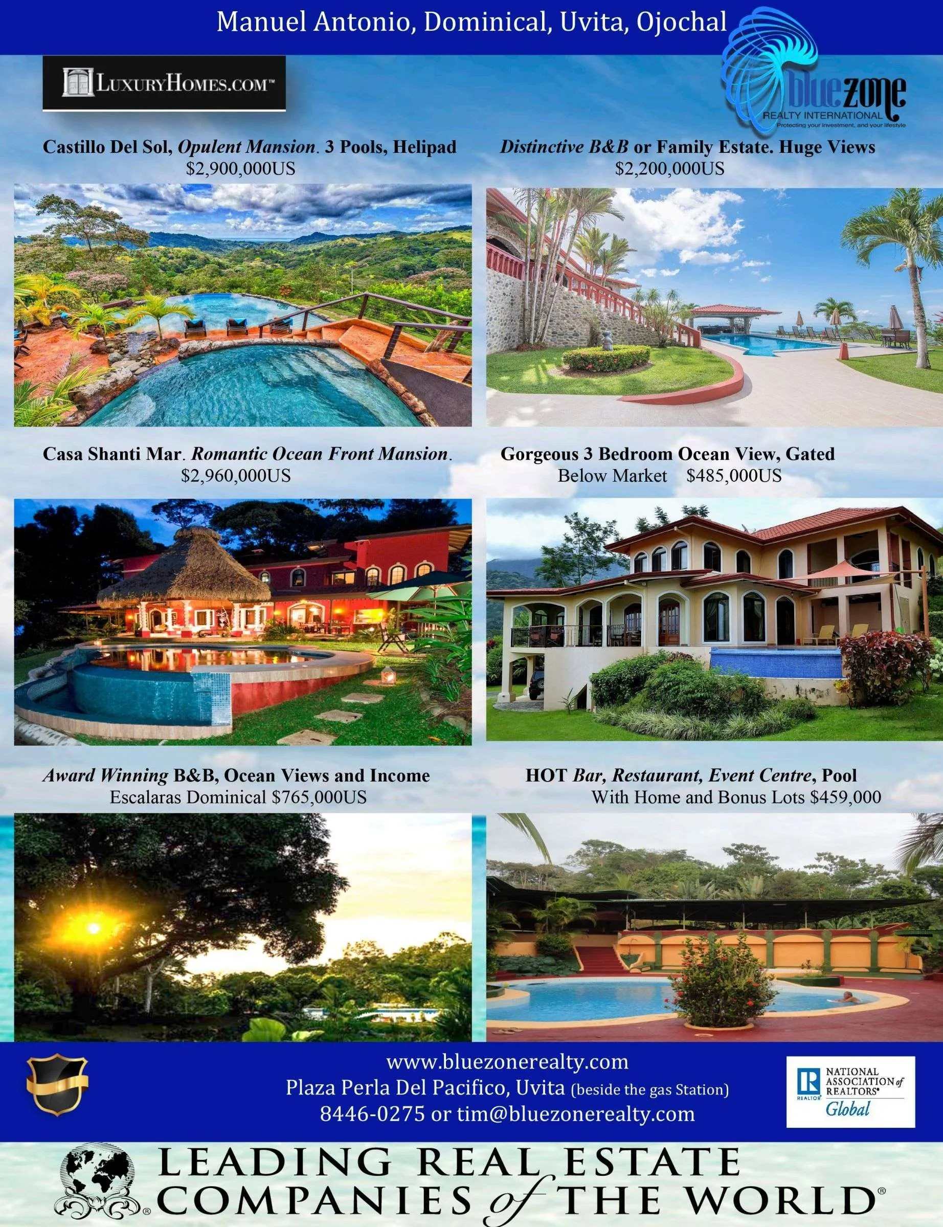 Blue Zone Realty International, Costa Rica, real estate South Pacific Costa Rica