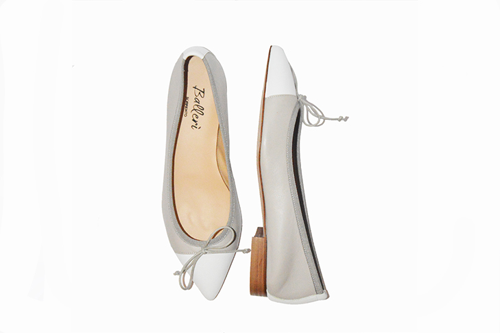 Grey and White two-tone Leather Sofia Ballerina - 4