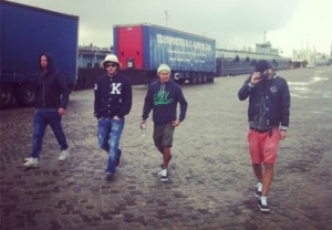 Niels Jäger (far right) at the most recent look book shoot in Lisbon (Portugal) with homies August, Mo and Tith.