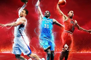 NBA 2K13 cover - Kevin Durant, Blake Griffin and Derrick Rose