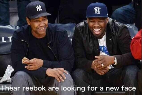 50 Cent courtside with Denzel Washington