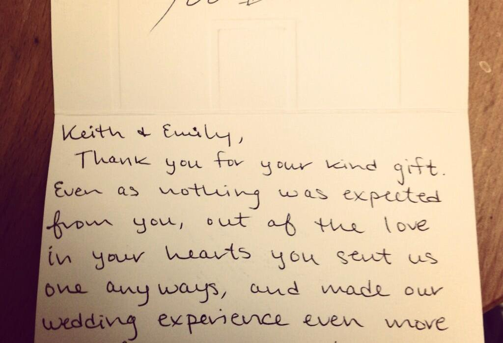 Wedding Gift Thank You Note: RGIII Sends Fan Handwritten 'Thank You' Note For Wedding Gift