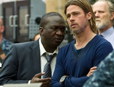 Fana Mokoena with Brad Pitt in World War Z