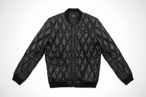 Black Diamond Quilted Leather Bomber by Stampd