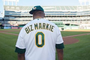 Biz Markie Throws Out First Pitch At Oakland A's Game