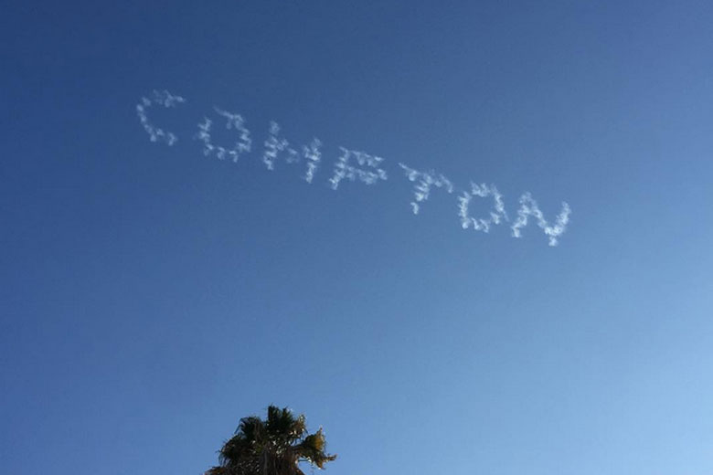 Dr. Dre writes Compton in the sky.