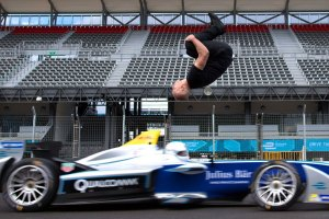 Stuntman Damien Walters Does Backflip Over Formula E Car