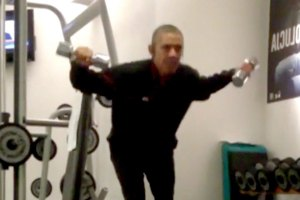 President Obama working out.