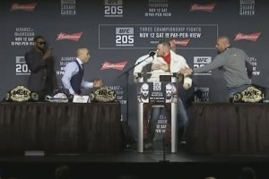 Conor McGregor Nearly Throws Chair at UFC 205 Press Conference