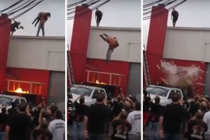 Wrestler slams guy off building