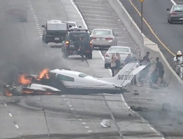Plane Crashes on Los Angeles 405 Freeway