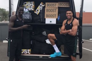 Giannis Antetokounmpo gets truck full of shoes from Adidas