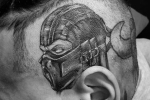 Chris Brown Mortal Kombat Head Tattoo