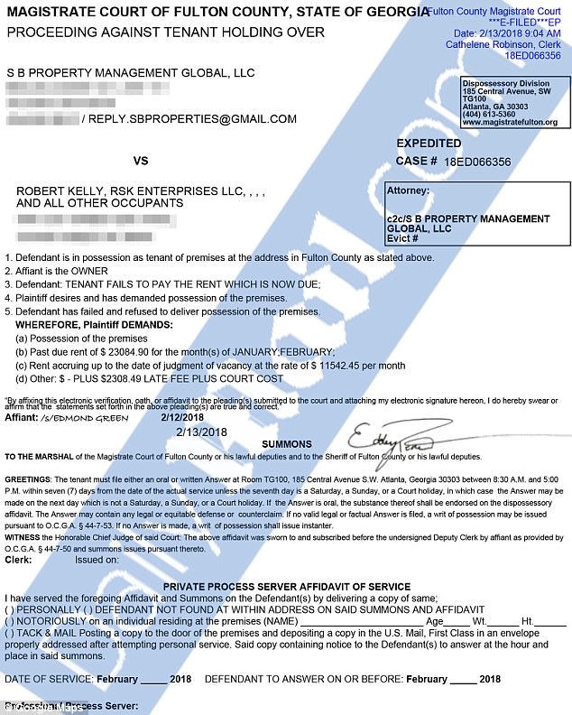 R. Kelly eviction notice / Daily Mail