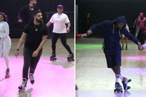 Drake Hits L.A. Roller Rink for Floyd Mayweather's 41st Birthday