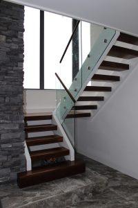 walnut stair with glass balustrade