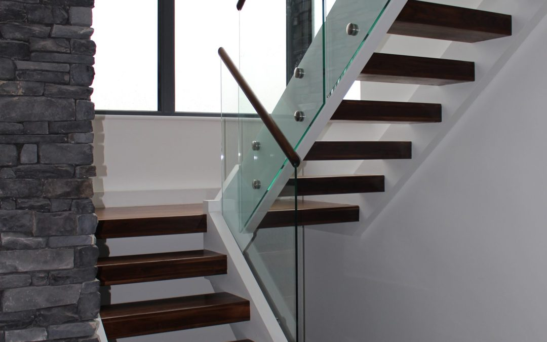 walnut stair with glass balustrade