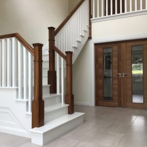 This walnut and painted stairs creates a stunning visual impression when you enter this home. All our stairs are custom designed to meet your specific project requirements. Our range includes traditional, contemporary, and modern stairs.