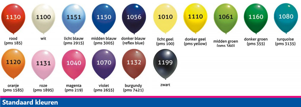 ballonkleuren standaard