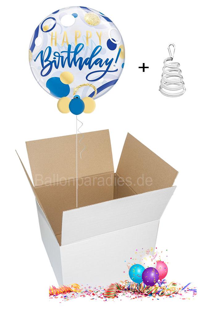 Ballon Paradies Zeulenroda Happy Birthday Blue Und Gold Dots Ballongruss Per Post