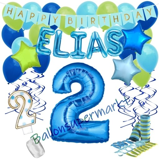 Happy Birthday Blau Individuelles Kindergeburtstagsdeko Set Mit Namen Und Luftballons Zum 2 Geburtstag 38 Teilig