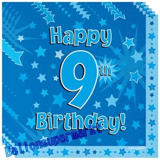 Kindergeburtstag Servietten Happy 9th Birthday Blau Zum 9 Geburtstag Junge