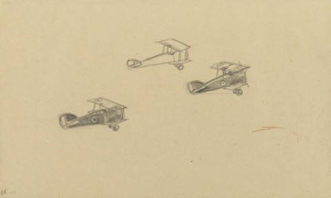 Three_Sopwith_Camels_in_Flight,_1918_Art.IWMART4511