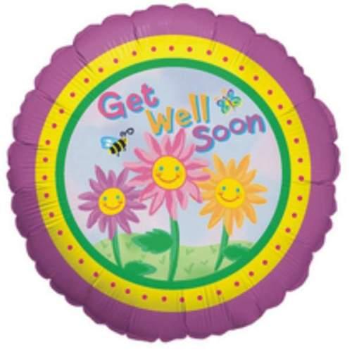 Μπαλόνι Get Well με λουλούδια